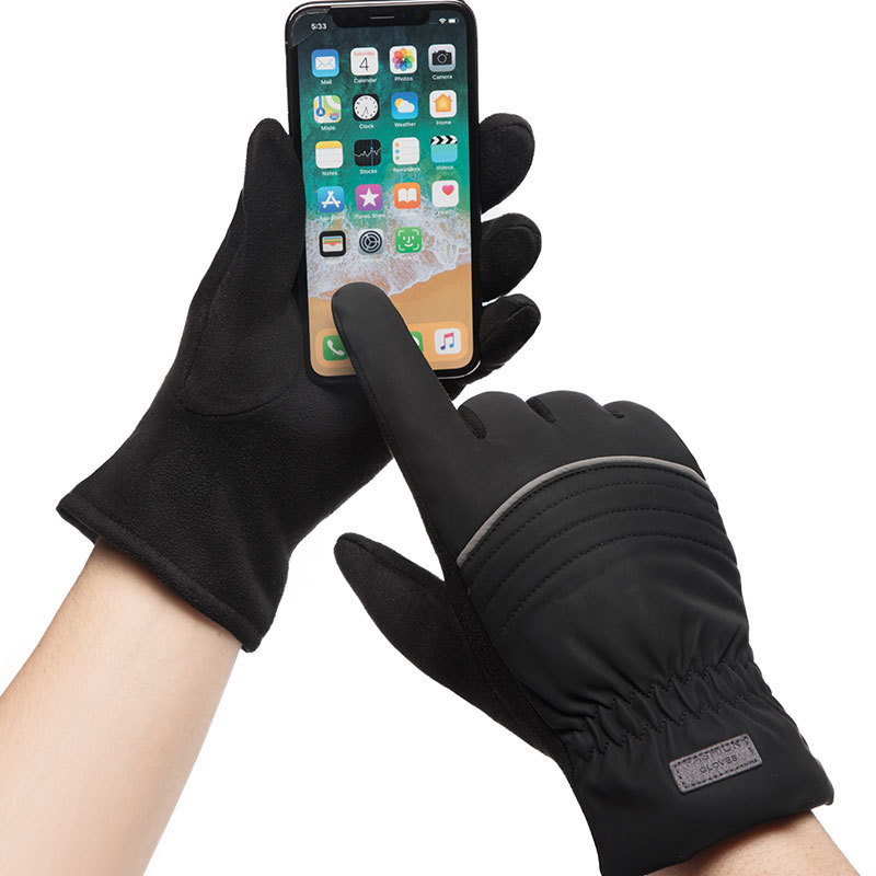 Winter Men Sports Plus Plush Thick Warm Cashmere Cycling Riding Mittens Elastic Imitation Leather Touch Screen Driving Glove C65