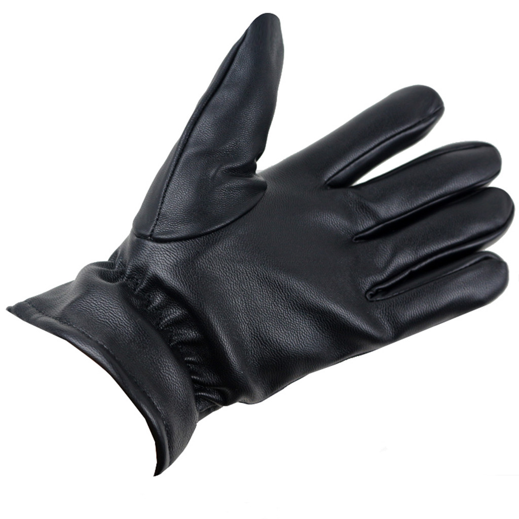 2019 Winter Man Deer Skin Leather Gloves Male Warm Soft Men'S Glove Black Three Lines Design Men Mittens Sheep Hair Lining #YL5