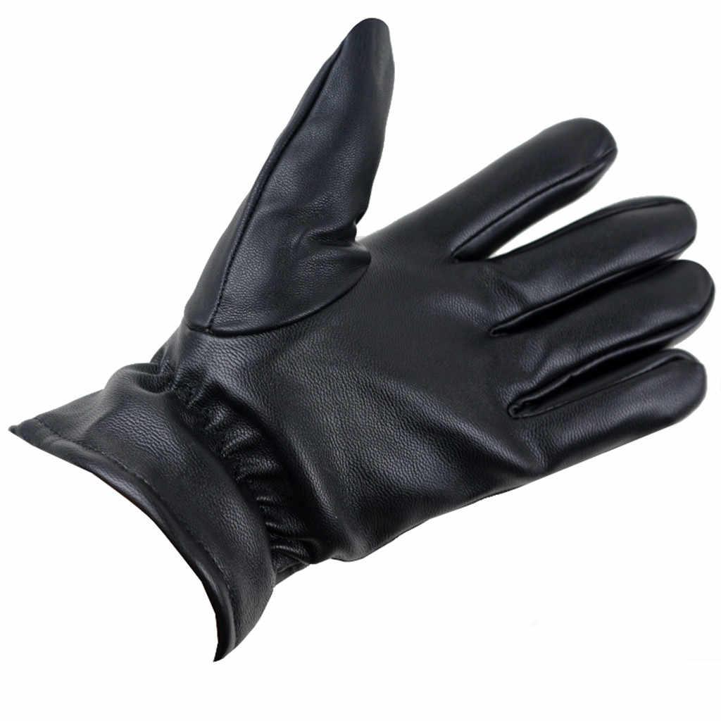 2019 invierno hombre piel de ciervo guantes de cuero Hombre cálido suave guante de hombre negro tres líneas diseño hombres mitones forro de pelo de oveja # YL5