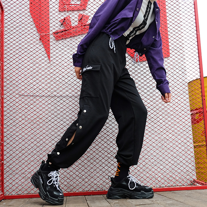 JIEZuoFang Black Streetwear Pantalon Side Button Women's High Waist Sweatpants And Joggers Korean Fashion Hippie Harem Pants
