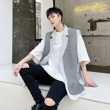 M-XL!Summer plaid patchwork design with loose collar and personality waistcoat. Two sleeveless jackets.