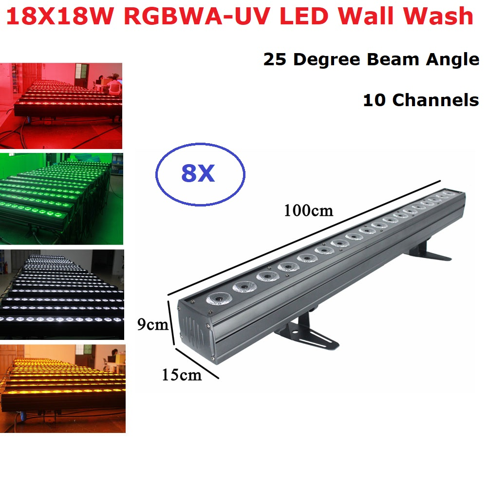 Equipments Dj 18X18W RGBWA UV 6IN1 LED Bar Light DMX512 LED Wall Wash Light For Christmas Decorations Home Party Dj Light Disco Stage Lighting Effect     - title=