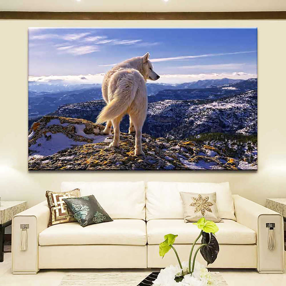 new hot sale MountainS WolfS Unframed Canvas Paintings Living Room Wall Picture Poster Decor modern and artistic wall decoration