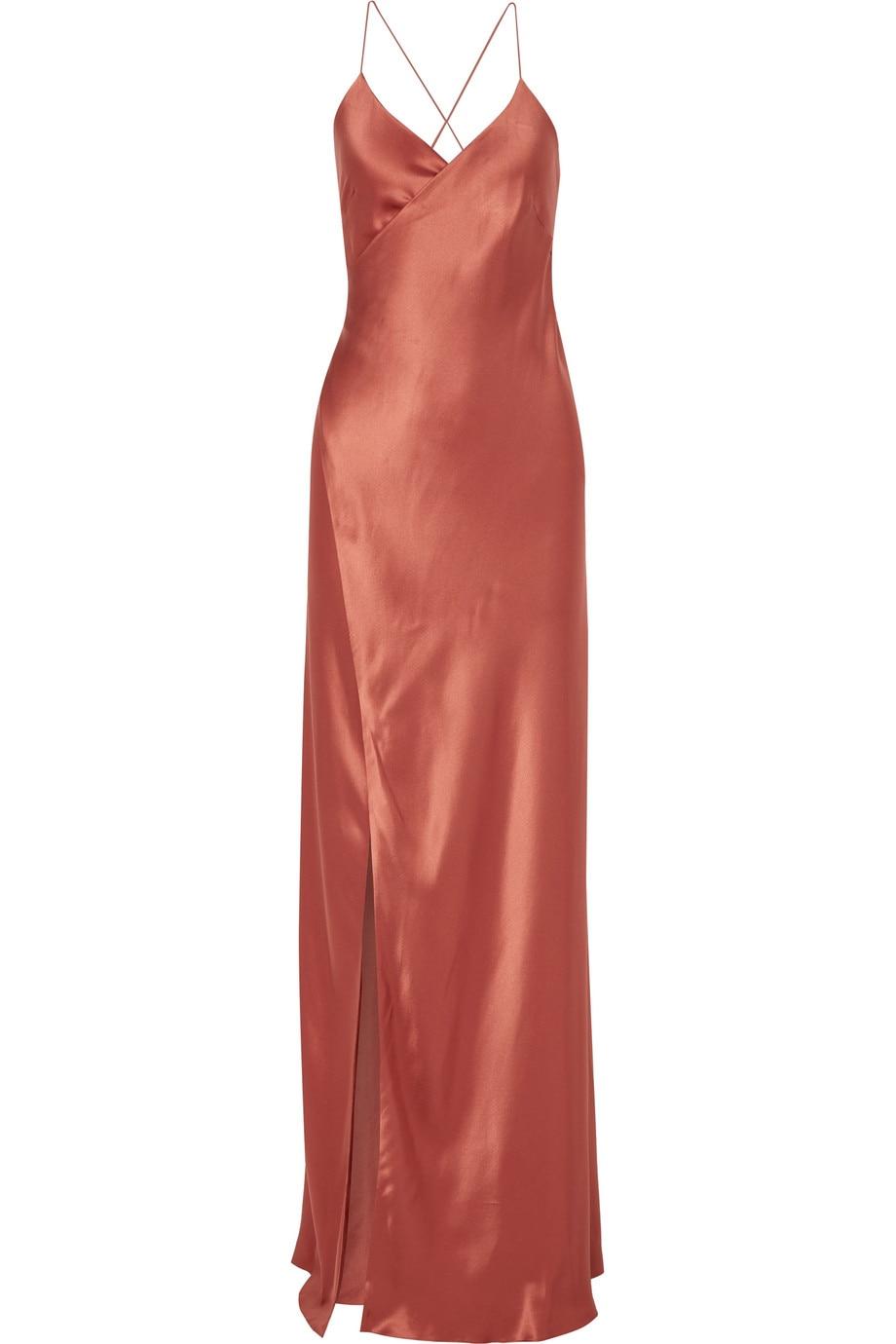 Robe Demoiselle D'Honneur Cheap Sheath Bridesmaid Dresses Long 2020 V-Neck Satin Spaghetti Straps Side Slit Vestido De Festa