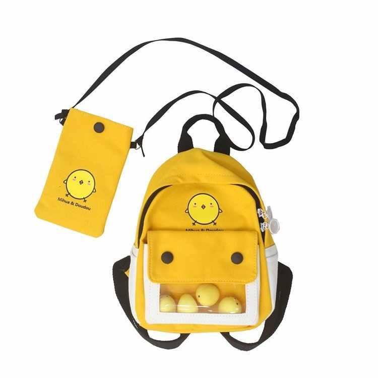 Mode Schule Rucksack Frauen 2020 College Mädchen Nette Cartoon Kleine Gelbe Schulter Taschen Studenten Zwei-stück Schul Rucksäcke