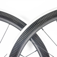 OEM 3K Twill carbon wheels aluminum brake surface 700c road bicycle wheelset 38mm 50mm 60mm depth carbon road bike alloy rims