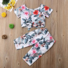 New Toddler Kids Baby Girl Tee Pant Set Floral Print Bowtie Decor Comfy Kid Clothes 2pcs Set 0-5T Lovely Baby Girl Clothes 2pcs set lovely