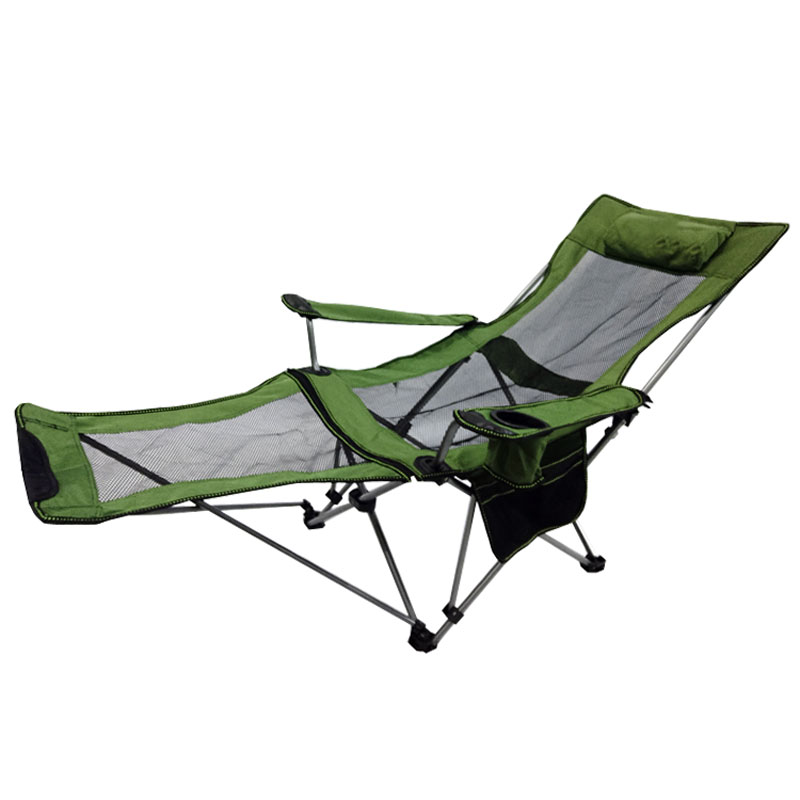 Outdoor Folding Chair Light Portable Dual-purpose Reclining Chair Nap Chair Escort Bed Recreational Backrest Camping Fishing Sto