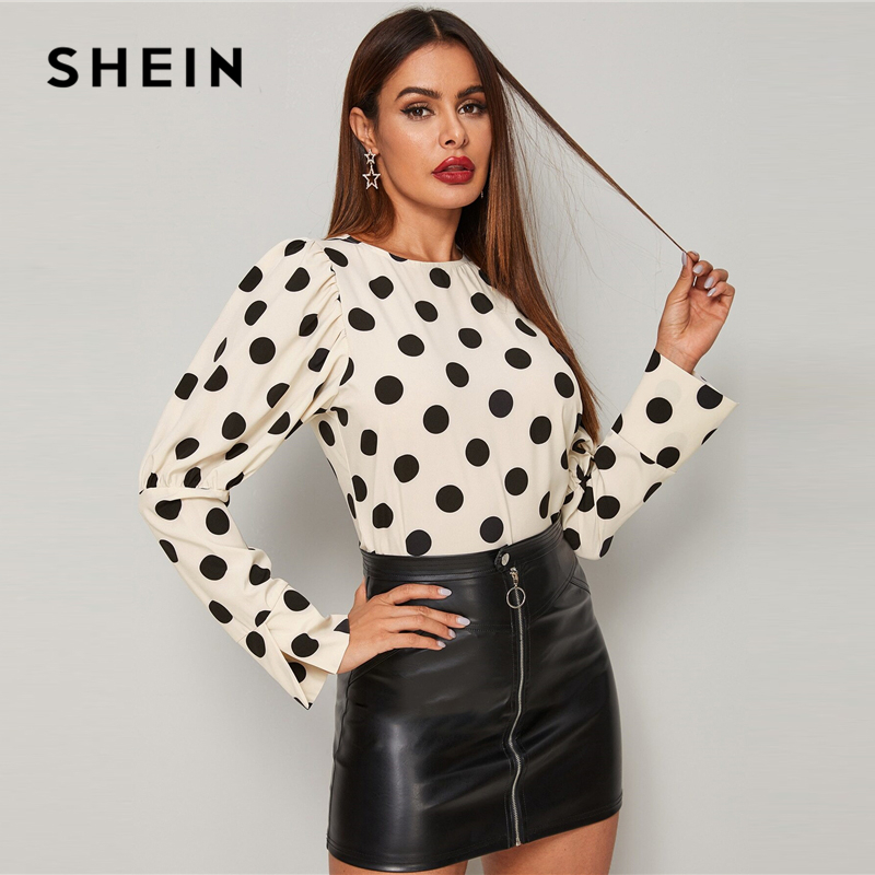 SHEIN Beige Polka Dot Leg-of-mutton Sleeve Blouse Top Women Spring Autumn Round Neck Office Ladies Elegant Blouses 1