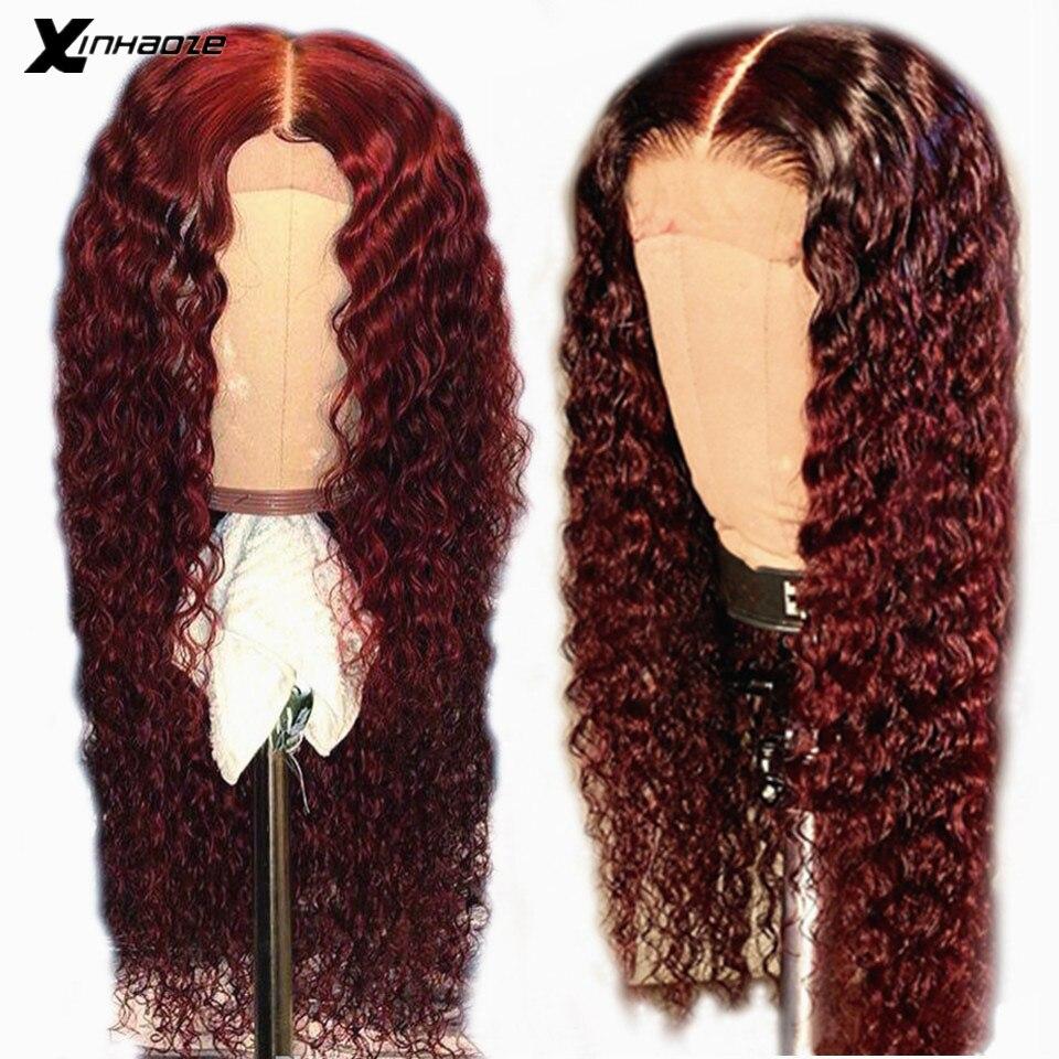Colorido 13x6x1 parte profunda borgonha frente do laço perucas de cabelo humano ombre 99j onda de água brasileira peruca remy glueless vinho vermelho 99j peruca