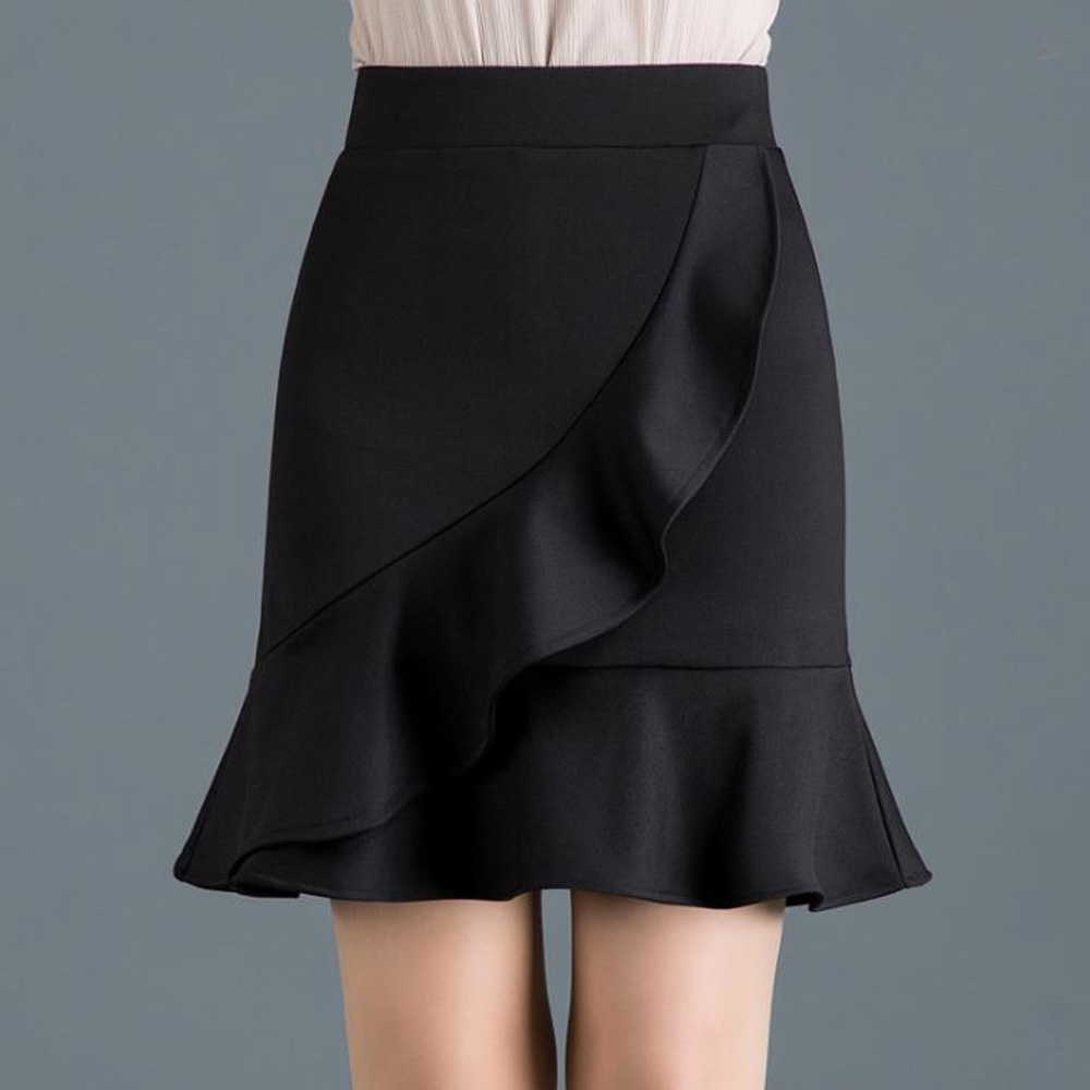 Elegant Women Solid Black Skirt Stretch High Waist Falbala Ruffle Mini Skirts Slim Hip-Wrapped Office Bodycon Pencil Work Skirt image