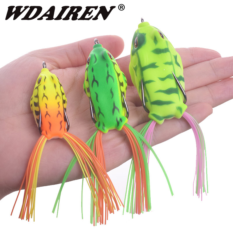 1Pcs 6g 9g 12g Top Water Ray Frog Shape Hooks Soft Frog Minnow Crank Wobbler For Fly Fishing Soft Tube Bait Japan Fishing Tackle