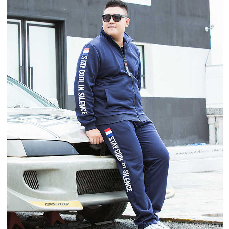 9XL プラスサイズのスポーツウェア男性のジャケットパンツ 2 ピーストラックスーツセット 2019 新スポーツスーツ男性スポーツトラックスーツのための 150 キロ