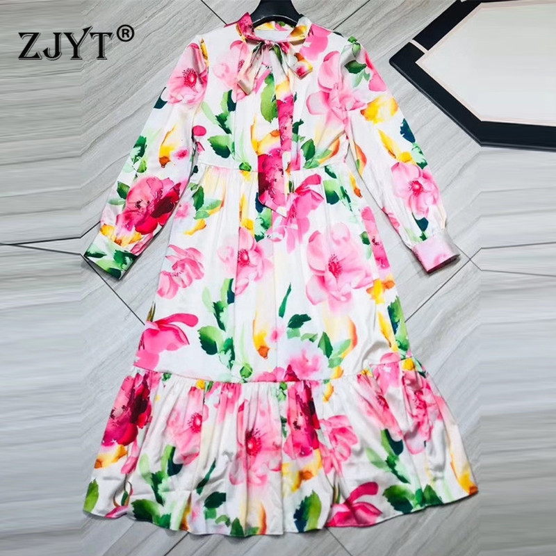 Spring 2020 New Fashion Runway Dress Women High Quality Full Sleeve Bow Collar Floral Print Ruffles Sweet Party Dresses