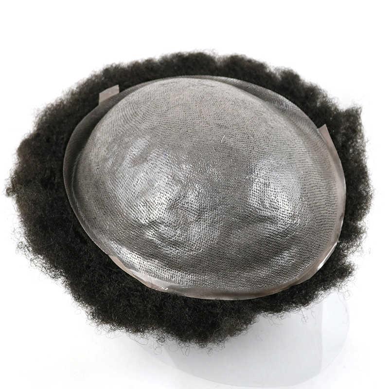 Afro tupecik z ludzkich włosów dla czarnych mężczyzn kręcone peruka przezroczysta skóra mężczyzna splot łysienie męskie niestandardowe wymiana włosów 8x10inch