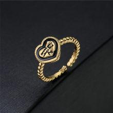 Винтажное Открытое кольцо в богемном стиле, кольцо в форме сердца для женщин и девушек, подарок на день рождения, оптовая продажа