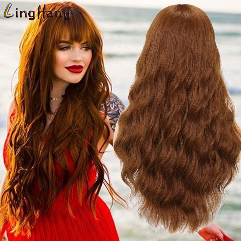 LingHang Long Wavy Wig Female Brown Gold 18 Colors High Temperature Synthetic Wig Suitable For Black / White Women