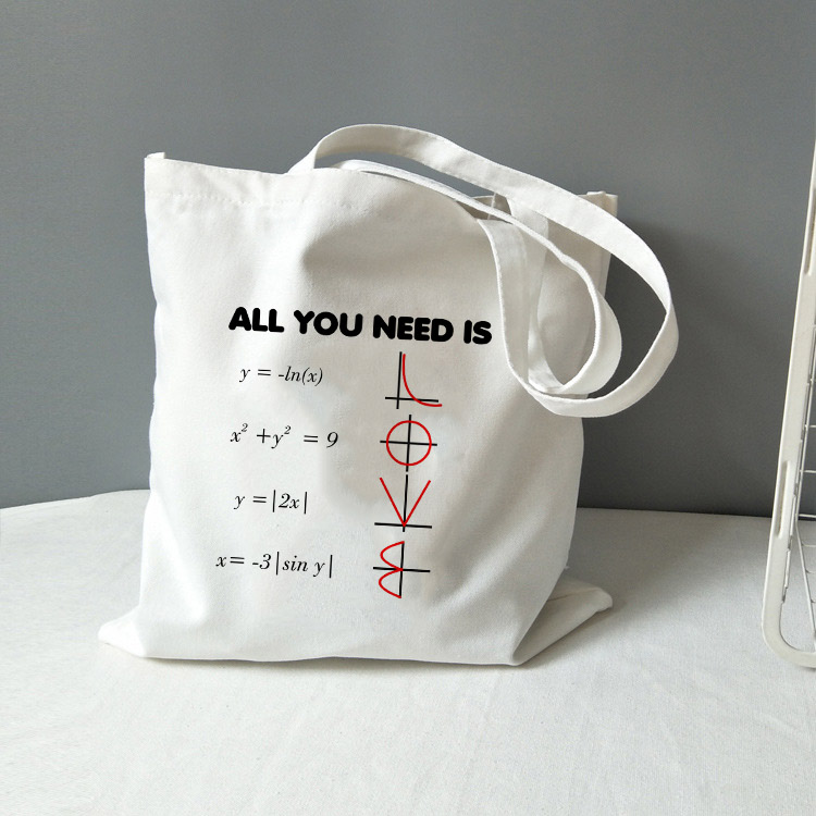 Chemistry Tote Bag Canvas All You Need Is Love Math Graphic Fashion Travel Storage Bag Funny Geek Handbag Shoulder Totebag
