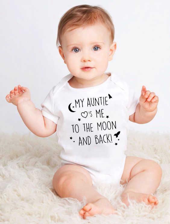 Bayi Kapas Baju Monyet Tante Saya Mencintai Saya Ke Bulan dan Kembali Lengan Pendek Bayi Bayi Anak Laki-laki Anak Perempuan Lucu jumpsuit Pakaian