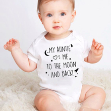 Newborn Cotton Romper My Auntie Loves Me To The Moon and Back Print Short Sleeve Infant Bab