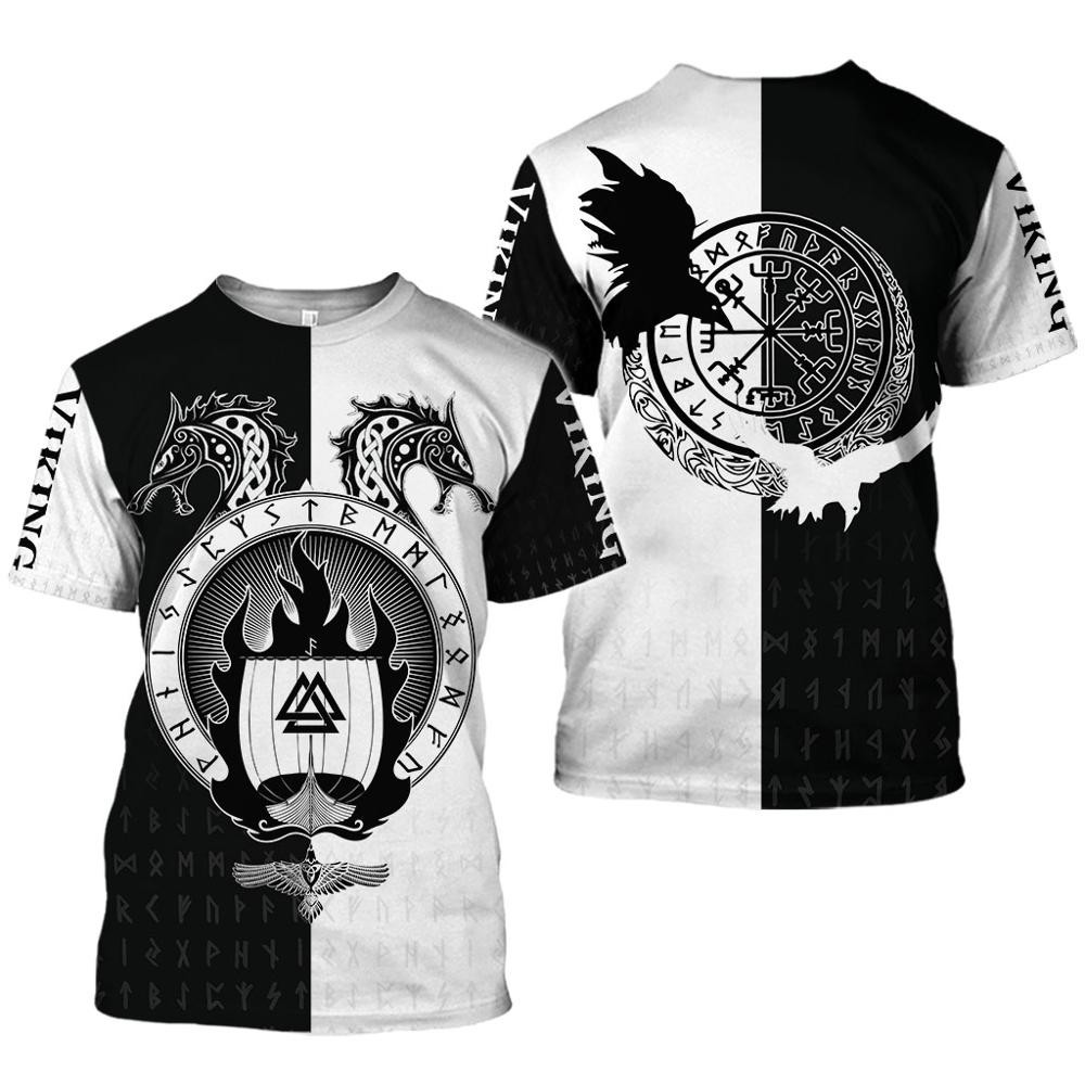 2020 latest Viking symbol printed T-shirt men's summer short-sleeved Harajuku T-shirt men's street hip-hop unisex T-shirt top 01 4