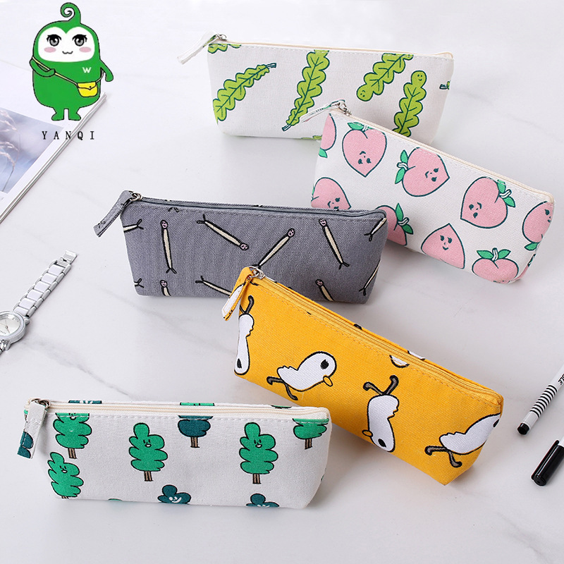 Korean-style Stationery Yellow Chickens Trapezoid Pencil Case Japanese Style Elegant Canvas Girl'S Stationery Bag Peach Storage