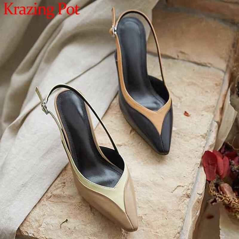 Krazing Pot chic design couleurs mélangées en cuir véritable petit bout carré stiletto talons hauts boucle sangles femmes mode pompes L16