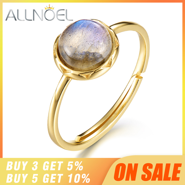 ALLNOEL 925 Sterling Silver Ring For Women 100% Natural Labradorite Gemstone 1.3ct Real Gold Wedding Engagement Fine Jewelry 1
