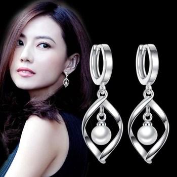 PXCHZQ 925 Plata de Ley Nueva joyería de mujer perlas largo párrafo borla alta calidad Retro hueco redondo pendientes