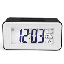 Desk Digital Clock Sound Control Backlight 12/24 H Snooze 8 Alarm Ringtones for Bedrooms Bedside Kids(China)