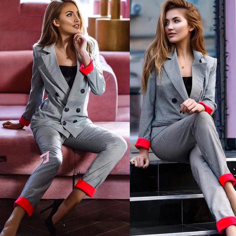 Magriay Plaid Jacket With Trouser Casual Blazer Work Office Lady Pant Suit Female Houndstooth Suits Coat Spring 2 Piece Set C234