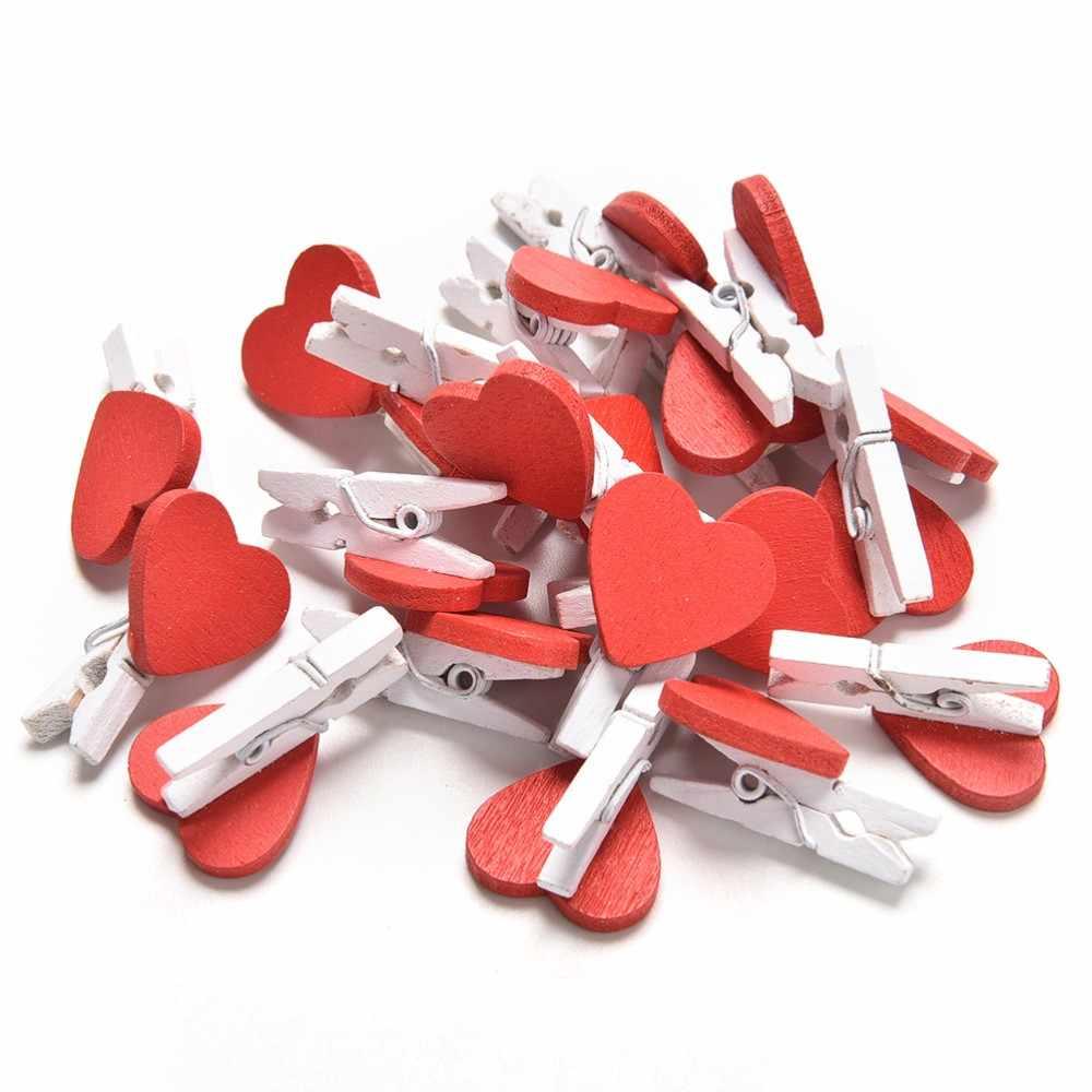 20 sztuk/paczka Mini serce miłość drewniane ubrania papier fotograficzny Peg klamerka Craft pocztówki klipy Home dekoracje ślubne