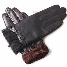Autumn And Winter Leather Gloves Ladies Plus Velvet Warm Lace Edge Sheepskin Gloves EL072