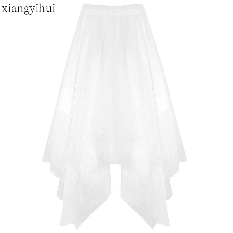 Large Sewing Long Gothic Punk Skirt Woman Kawaii Japanese Style Lolita Mesh Asymmetric Skirt Women Solid White Long Skirts