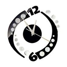 Modern Rotation Sticker 3D Mirror Wall Clock Home Office Time DIY Decor Black perfect diy 3d art wall clock decals breaking cracking wall clock sticker office home wall decor gift 15 x15