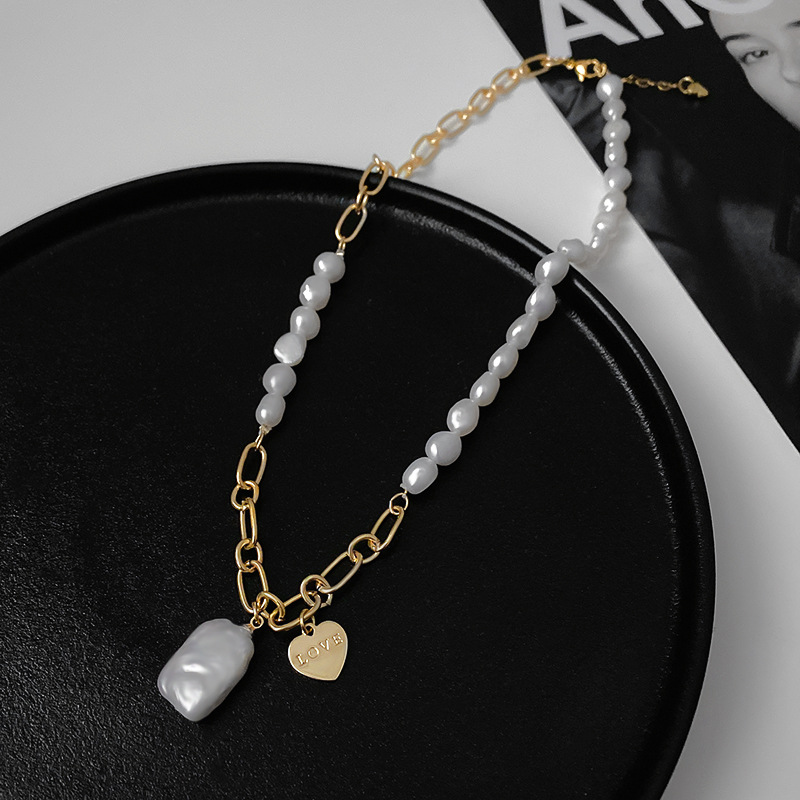 3Pcs  Pearls Strand Genuine  Electroplated Gold Chain Freshwater Pearl Love Heart Square Pearls Necklace Jewelry Necklace