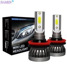 JIAMEN H7 LED Mini Car Headlight Bulbs H1 H8 H9 H11 12000LM Headlamps Kits 9005 HB3 9006 HB4 Auto 9V 12V 24V Lamps