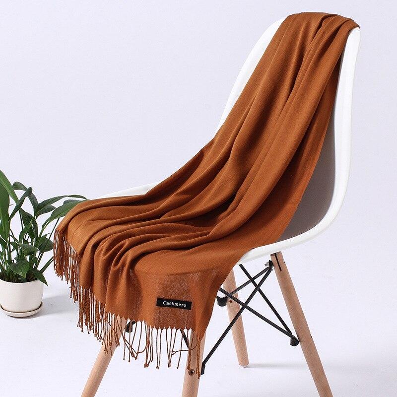 Однотонный кашемировый шарф для женщин новые длинные мягкие шали и палантины пашмины модные хиджаб с кисточками женские шейные шарфы - Цвет: 110g  jiaotang