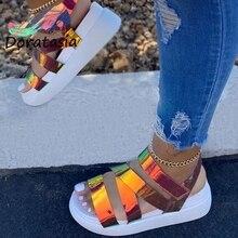 DORATASIA Women Open Toe Platform Velcro Shoes Mixed Color Wedges Summer Sandals Women Fashion Brand Sandals platform open toe heeled wedges