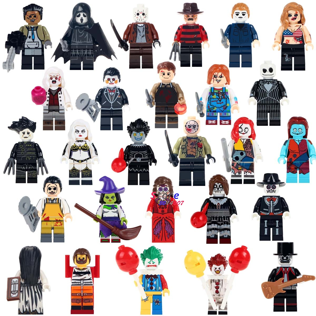 Single Horror Theme Series The Ring Hockey Guy Hockey Mask Hunter-Black Friday Jason Halloween Creepy Doll Building Blocks Toys