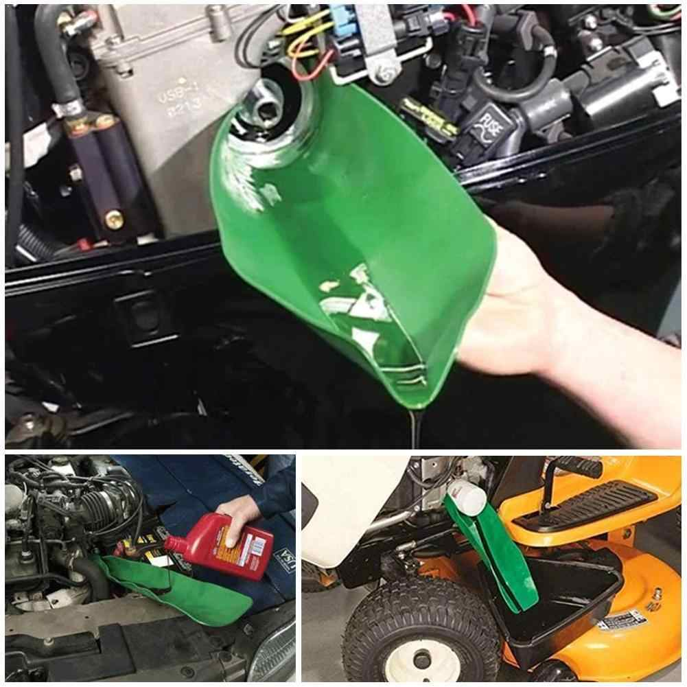 Drip-Free Oil Filter Funnel Crankcase Fill Funnel Blue High Temperature Resistant Oil Guide Plate Flexible Folding Draining Funnel Tool General Purpose Funnel Free Filter Extended for Oil