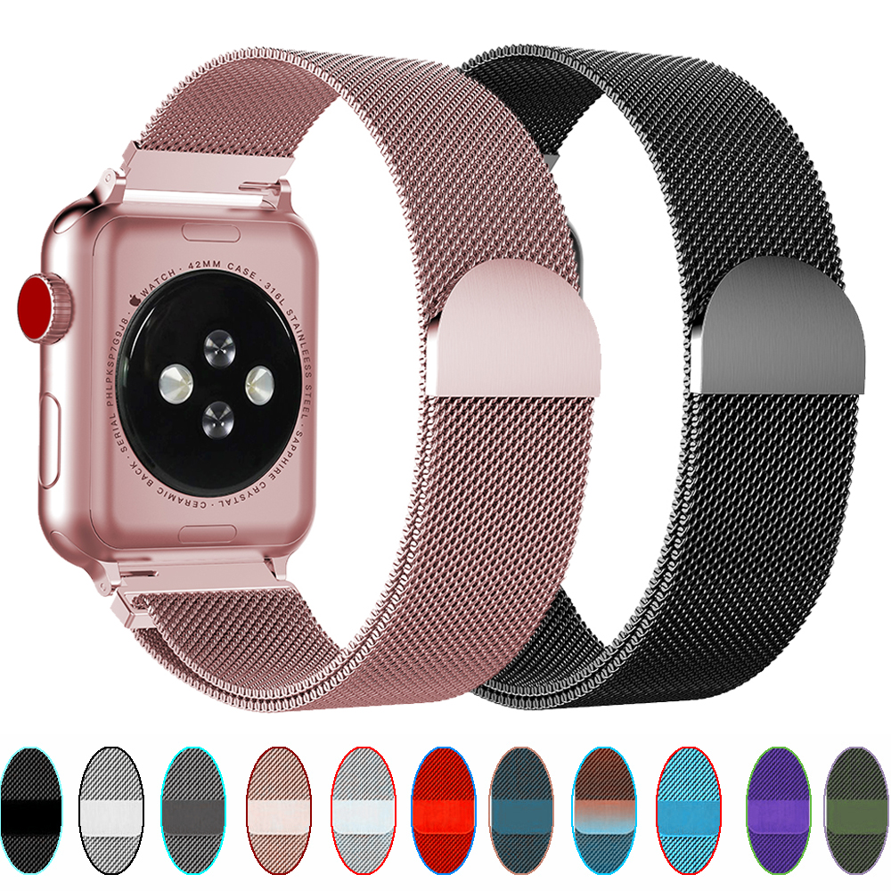 Milanese Loop Strap For Apple Watch Bands 42mm 44mm Correa Apple Watch 5 4 3 2 1 IWatch Band 38mm 40mm Magnetic Buckle Bracelet