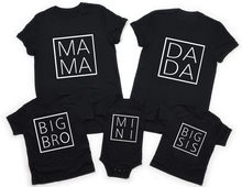Minicamisa a juego para madre e hija, ropa negra de manga corta personalizada para Familia