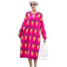 QING MO Yellow Blue Black Women Wool Dress 2020 Women Carrot Pattern Dress Female Autumen Winter Sweater Dress ZQY4584