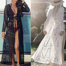 Women Lace Long Cardigan Maxi Chiffon Cover Up Swimsuit Boho Beach Bikini Kimono Coat