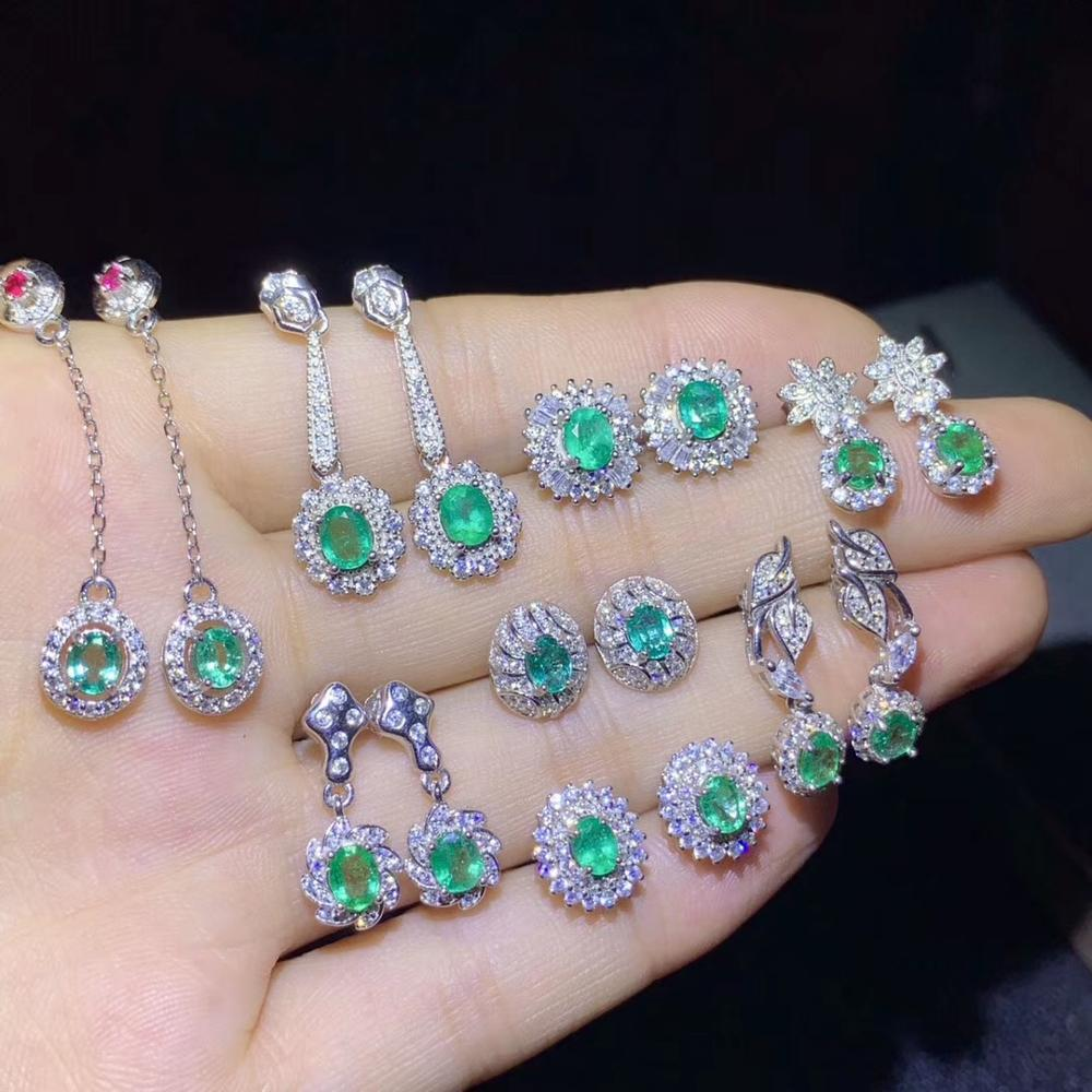 pick it:fashion natural green emerald gemstone earrings for women earrings silver jewelry real natural gem 925 silver girl gift