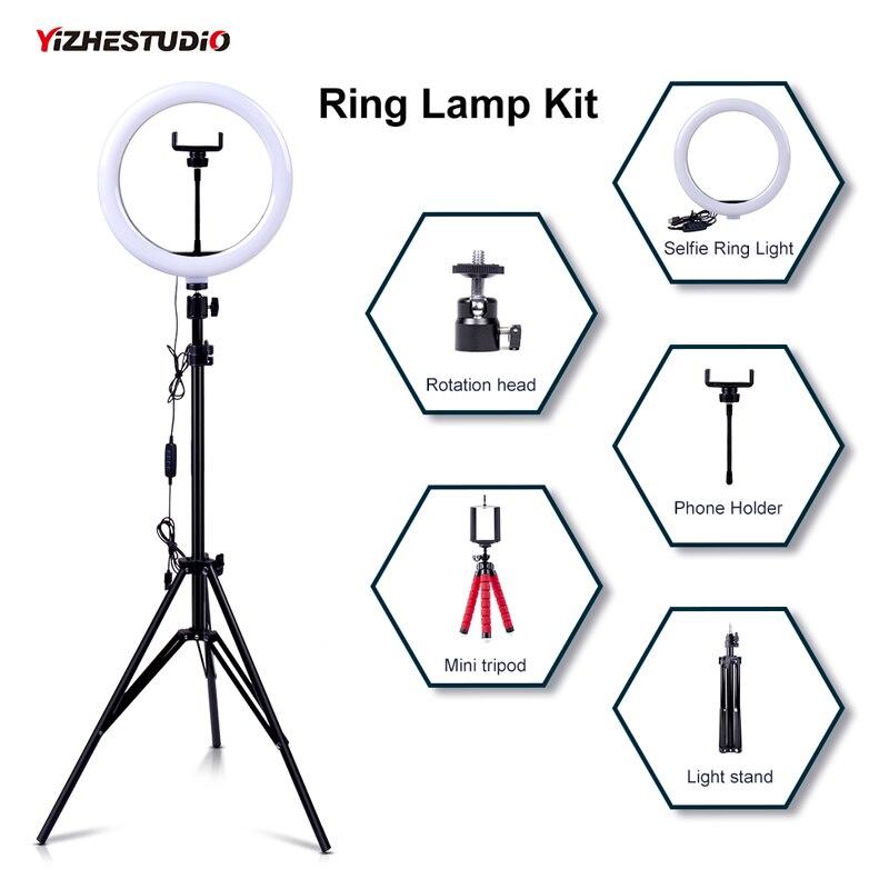 Yizhestudio кольцевая лампа со штативом с регулируемой яркостью, кольцевой светильник для селфи с подставкой, цветная кольцевая труба, фотографи...