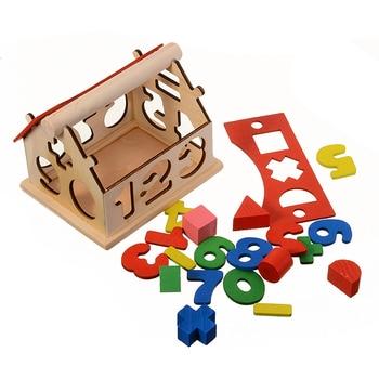 New Arrival Kids Model Assembling blocks Toys Baby Building Educational Digital Number Wooden House