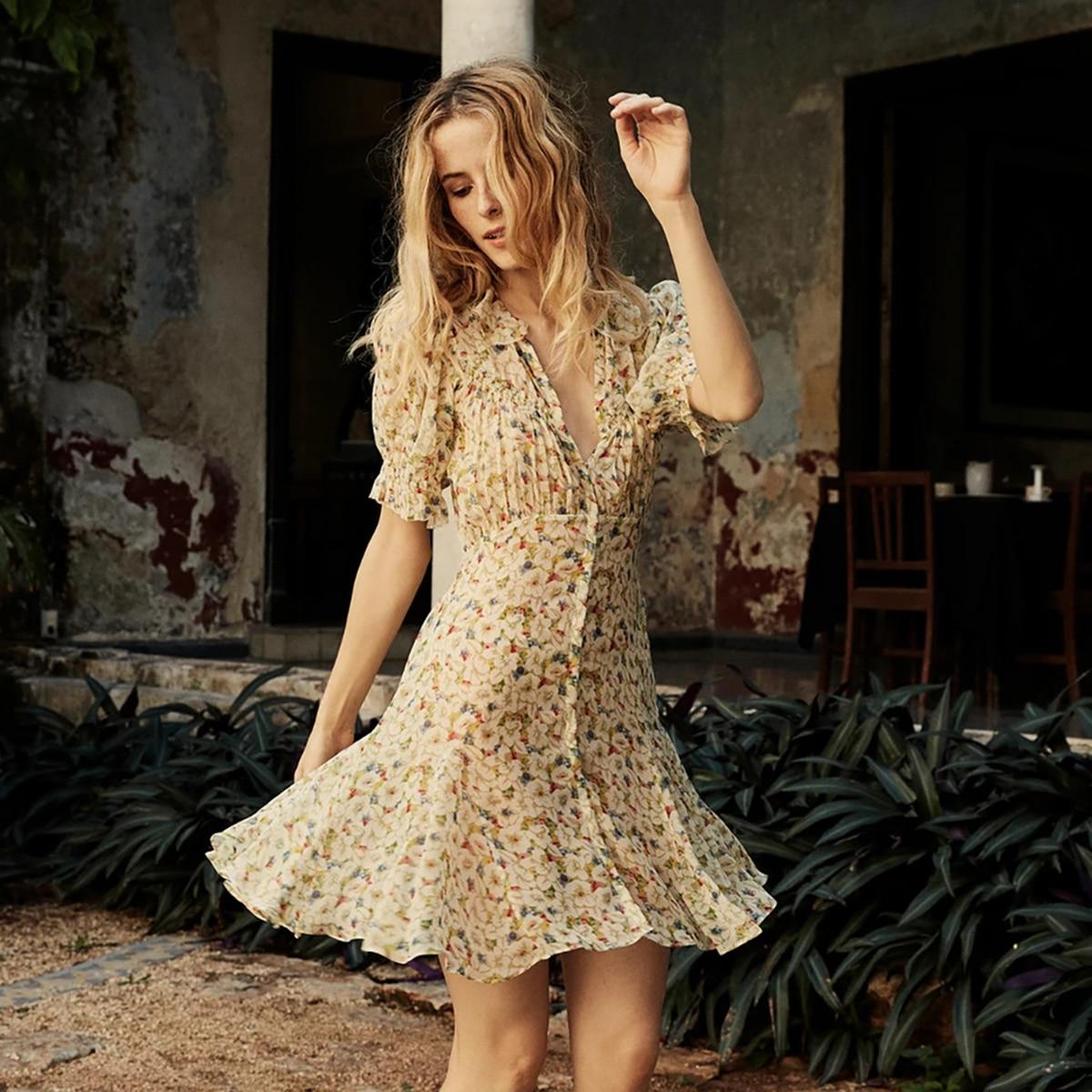 Floral Print Ruffle Hem Mini Dresses Summer 2020 Chic Puff Sleeve Button Sashes Lining Short Dress Women Casual Vintage Vestidos