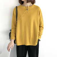 Women T Shirt long sleeve tshirt women loose vintage All match Clothes Tee Autumn O neck Casual vintage Solid woman clothes
